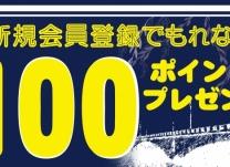 新規会員登録ですぐに使えるポイント100ポイントプレゼント♪